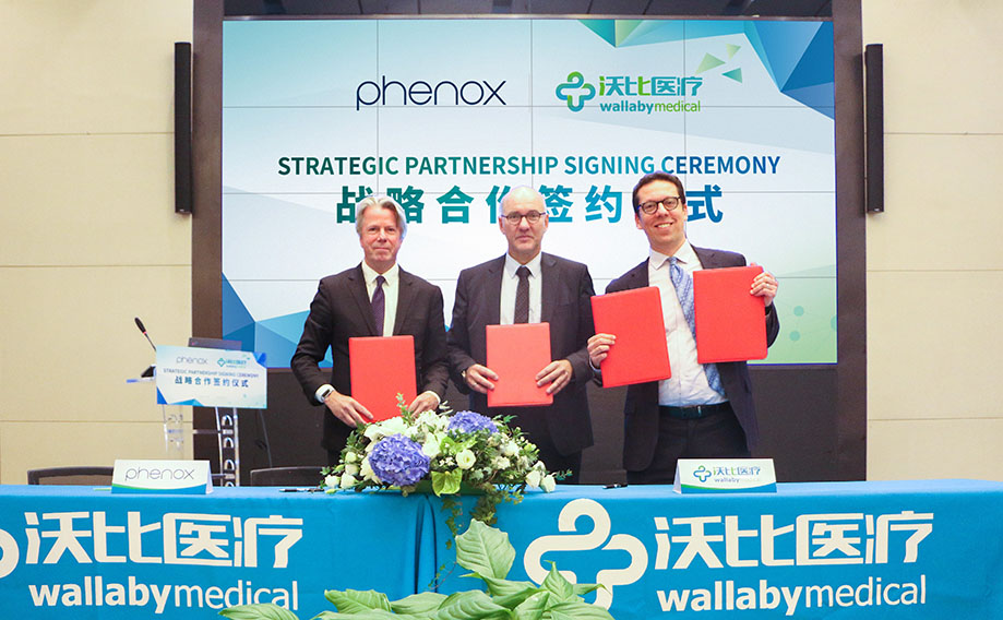 Ceremonial contract signing in Shanghai: phenox and Wallaby Medical seal strategic sales cooperation